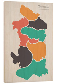 Wood  Duisburg city map modern abstract with round shapes - Ingo Menhard