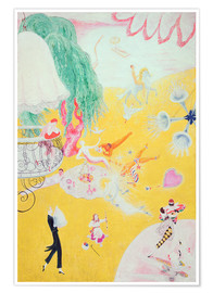 Premium poster  Love Flight of a Pink Candy Heart - Florine Stettheimer