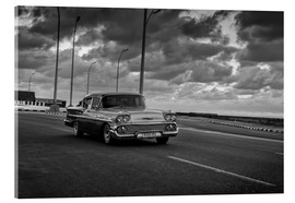 Acrylic glass  Classic Cuban Car in black and white - Alex Saberi