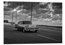 Foam board print  Classic Cuban Car in black and white - Alex Saberi