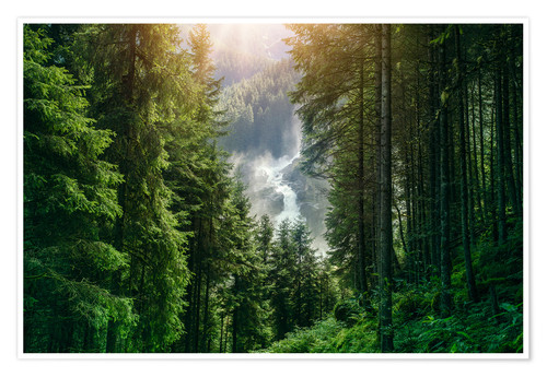 Premium poster The Krimml Waterfalls in the High Tauern National Park, the highest waterfall in Austria