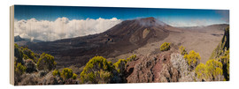 Wood print  Panorama of Piton de la Fournaise, La Reunion, France - Markus Ulrich