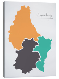 Canvas print  Luxembourg map modern abstract with round shapes - Ingo Menhard