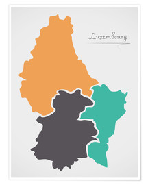 Premium poster Luxembourg map modern abstract with round shapes