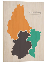 Wood print  Luxembourg map modern abstract with round shapes - Ingo Menhard