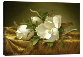 Canvas print  Magnolias on a Gold, Velvet Cloth - Martin Johnson Heade