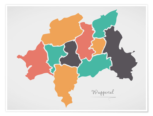 Premium poster Wuppertal city map modern abstract with round shapes