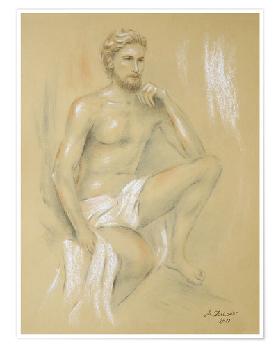 Premium poster Apollo - male semi-nude