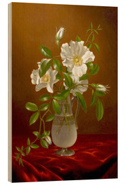 Wood print  Cherokee Roses in a Glass Vase - Martin Johnson Heade