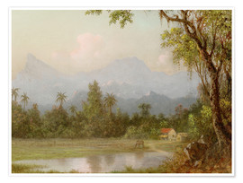 Premium poster  South American scene with a farm - Martin Johnson Heade