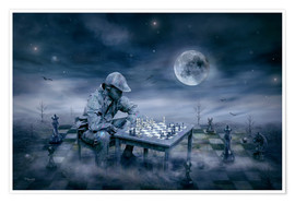 Poster A boy is playing Chess