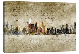 Canvas  Chicago skyline in modern abstract vintage look - Michael artefacti