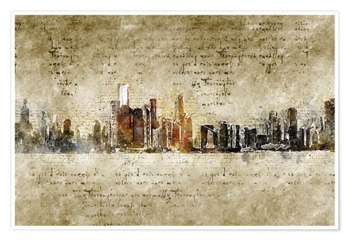 Premium poster Chicago skyline in modern abstract vintage look