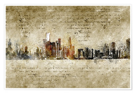 Michael artefacti - Chicago skyline in modern abstract vintage look