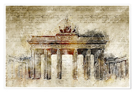 Premium poster  Berlin Brandenburg Gate in modern abstract vintage look - Michael artefacti