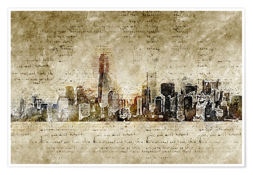Premium poster Skyline of New York in modern abstract vintage look