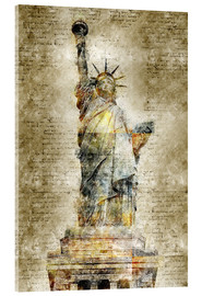 Acrylic print  Statue of liberty New York in modern abstract vintage look - Michael artefacti