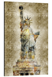 Aluminium print  Statue of liberty New York in modern abstract vintage look - Michael artefacti