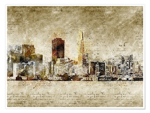Premium poster Skyline of San Francisco in modern abstract vintage look