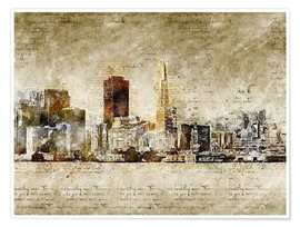 Premium poster  Skyline of San Francisco in modern abstract vintage look - Michael artefacti