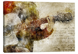 Canvas print  Guitar musician in abstract modern vintage look - Michael artefacti