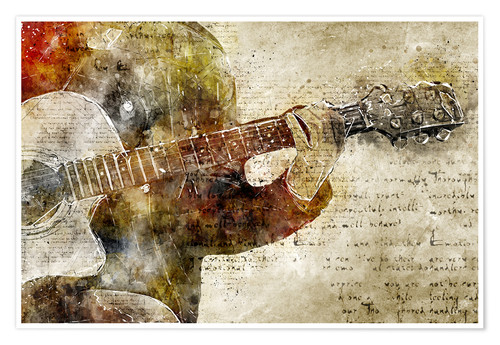 Premium poster Guitar musician in abstract modern vintage look