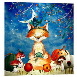 Acrylic print  woodland friends in autumn- the fox - UtArt