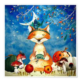 Premium poster woodland friends in autumn- the fox