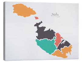 Canvas print  Malta map modern abstract with round shapes - Ingo Menhard