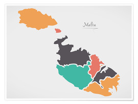 Premium poster Malta map modern abstract with round shapes
