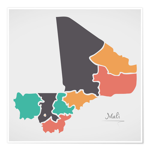 Poster Mali map modern abstract with round shapes