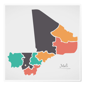 Premium poster  Mali map modern abstract with round shapes - Ingo Menhard