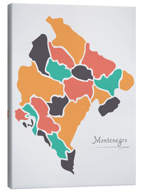Canvas print  Montenegro map modern abstract with round shapes - Ingo Menhard