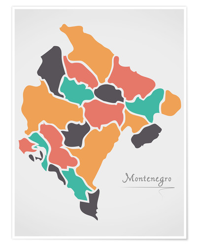 Premium poster Montenegro map modern abstract with round shapes