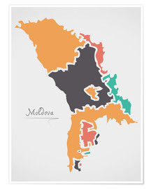 Premium poster Moldova map modern abstract with round shapes