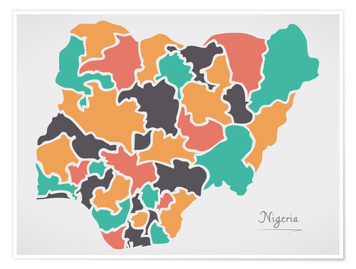 Premium poster Nigeria map modern abstract with round shapes