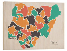 Wood print  Nigeria map modern abstract with round shapes - Ingo Menhard