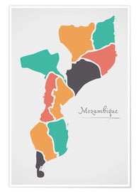 Premium poster Mozambique map modern abstract with round shapes