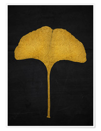 Poster golden ginkgo leaf