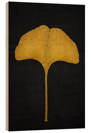 Wood print  golden ginkgo leaf - Sybille Sterk