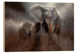 Wood  Elephant with baby - Peter Roder
