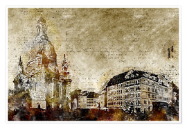 Premium poster Dresden Frauenkirche market abstract