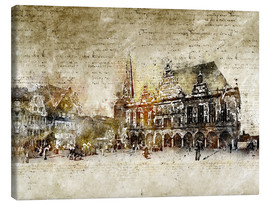 Canvas print  Bremen market marketplace modern and abstract - Michael artefacti