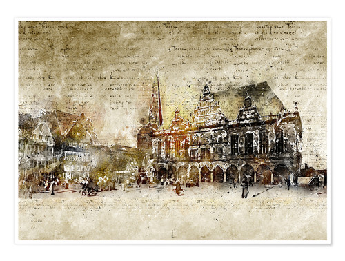 Premium poster Bremen market marketplace modern and abstract