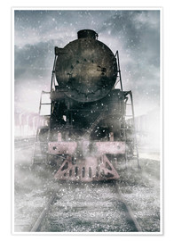 Premium poster Steam train at the snowing day