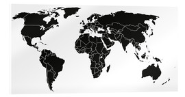 Acrylic glass  World map black and white