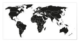 Poster  World map black and white