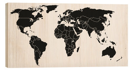 Wood print  World map black and white