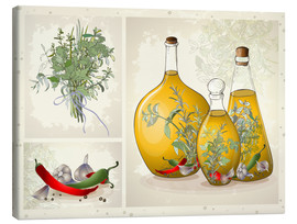 Canvas print  Kitchen herbs collage