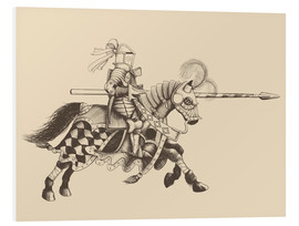 Foam board print  Knight with armor and horse